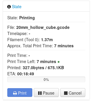 ETA time for current print