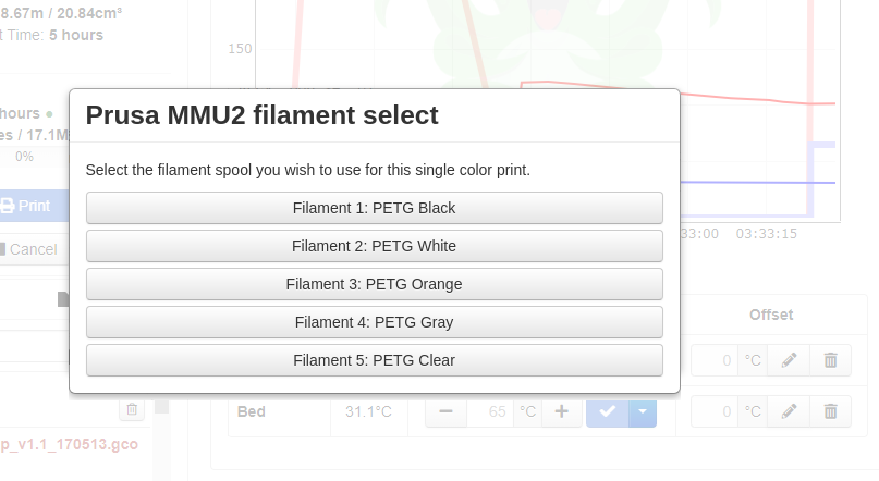 Picture of the filament selection dialog.