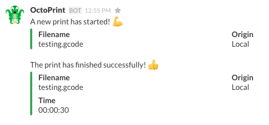 View of chat in Slack