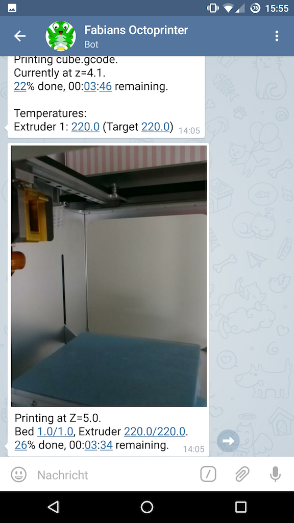 Telegram notifications during print